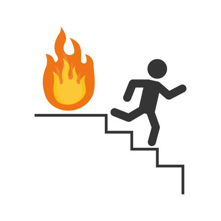 emergency stair: Fire emergency sign icon vector illustration graphic design