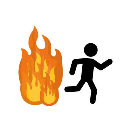 suppression: Fire emergency sign icon vector illustration graphic design