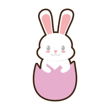 easter bunny in broken egg