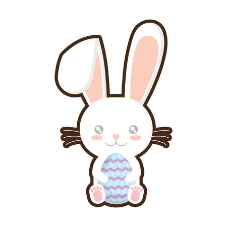 easter bunny whiskers hing egg adorable Illustration