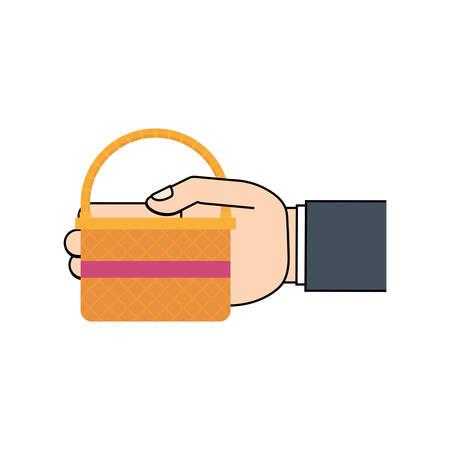 hand hing easter basket vector illustration eps 10