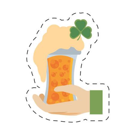 cartoon hand leprechaun holding glass beer st patricks day Illustration