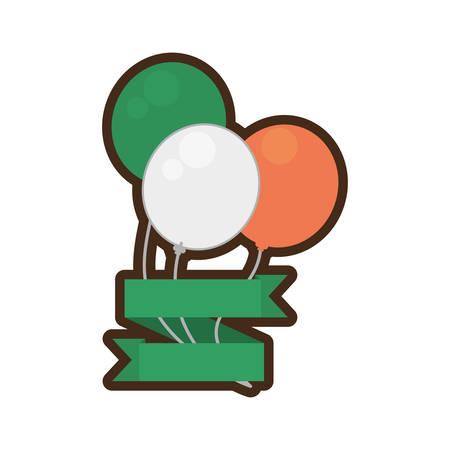 Día de los patricks del st de la cinta del irlandés de la bandera de los globos