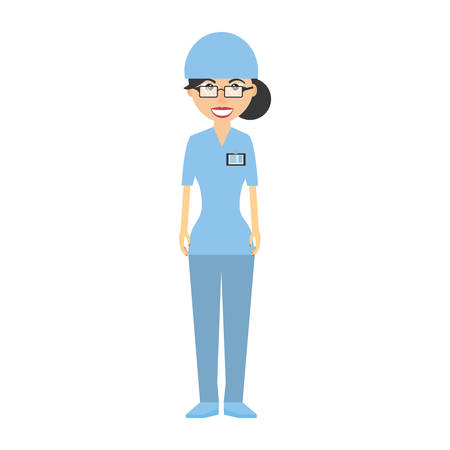 nurse with suit surgery hat and id card