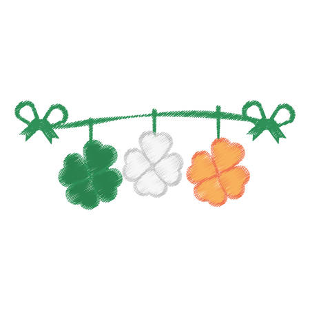 drawing st patricks day clover pennant decorative