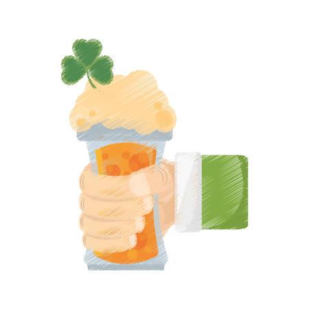 drawing leprechaun hand holding beer clover st patricks day vector illustration