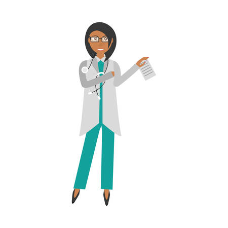prescription pad: female doctor holding document and stethoscope