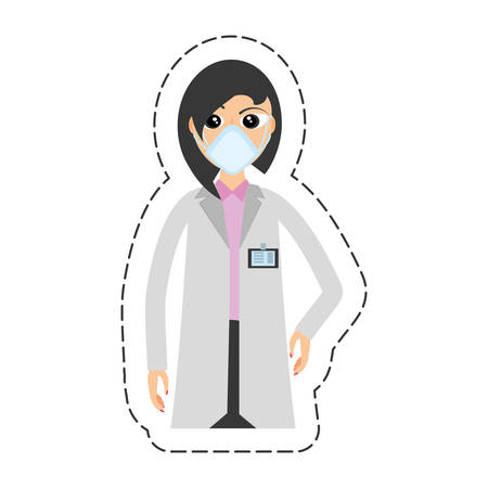 protective gown: cartoon woman doctor medical mask