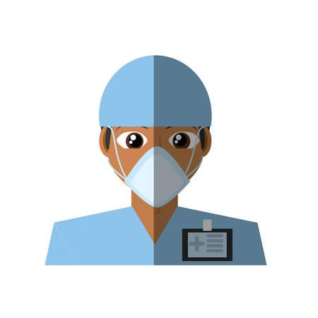 doctor mask medical surgeon id card vector illustration eps 10 Illustration