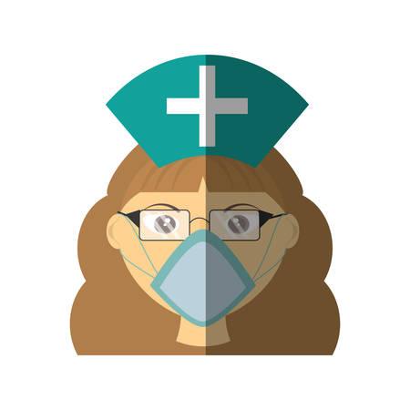 nurse with glasses mask medical Illustration