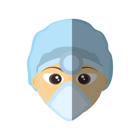 doctor female mask medical head mirror tool