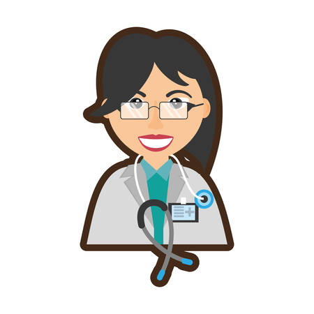 doctor stethoscope and id card healthcare Illustration