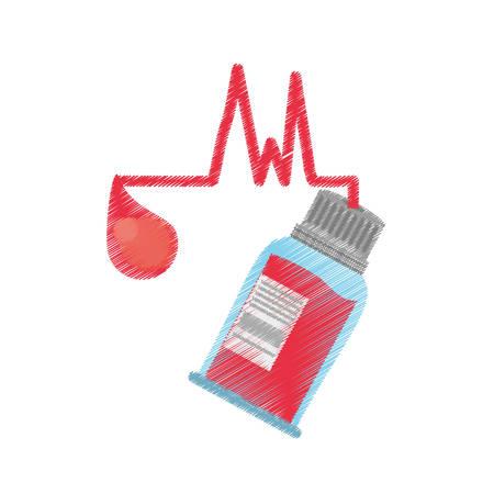 drawing bottle blood sample donation day vector illustration eps 10 Illustration