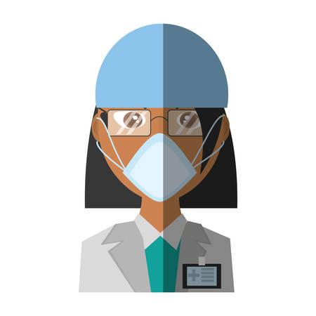 doctor female mask medical Illustration