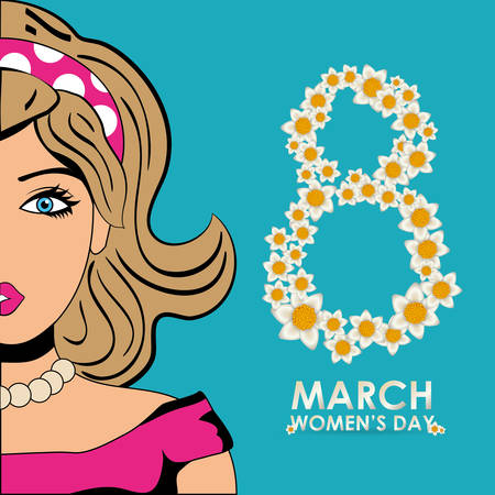 wallpaper International Women s Day: happy womens day eight flowers shape beauty girl vector illustration eps 10 Hình minh hoạ