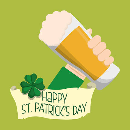 women s hat: happy st patricks day hand holding glass beer clover vector illustration eps 10