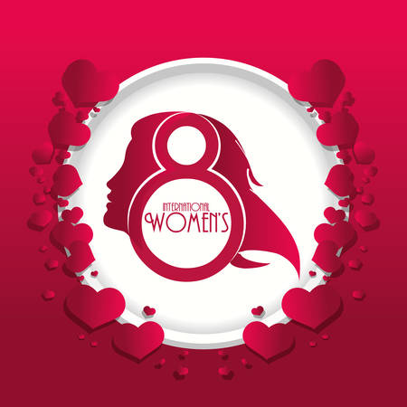 international womens day red hearts vector illustration eps 10