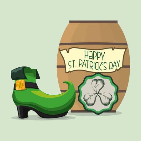 march 17th: happy st patricks day card boot barrel and shamrock vector illustration eps 10 Illustration