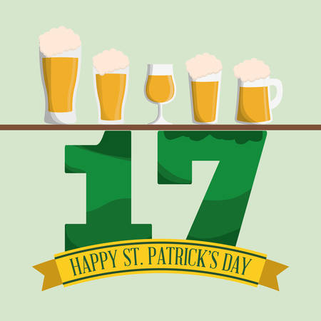 irish pub label: happy st patricks day collection glass beers vector illustration eps 10