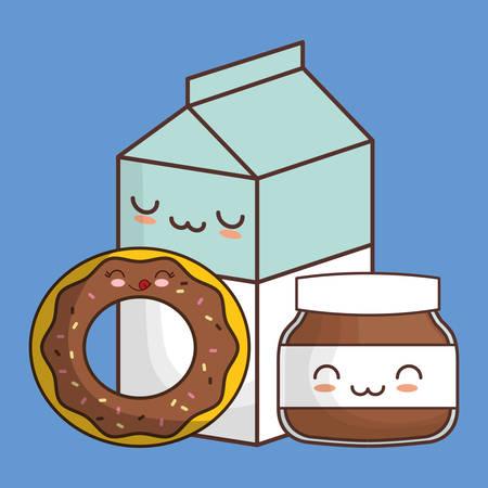 donut chocolate spread milk kawaii food icon image vector illustration design