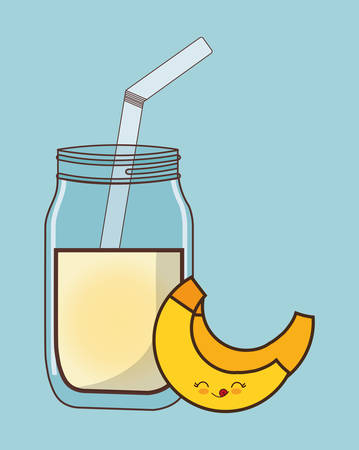 banana fruit juice kawaii food icon image vector illustration design