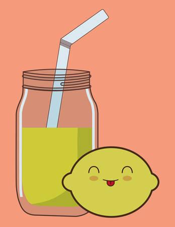 lemonade fruit juice kawaii food icon image vector illustration design