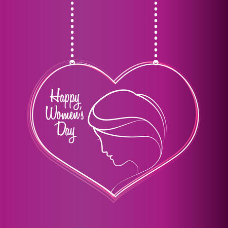 happy womens day purple heart hang vector illustration eps 10