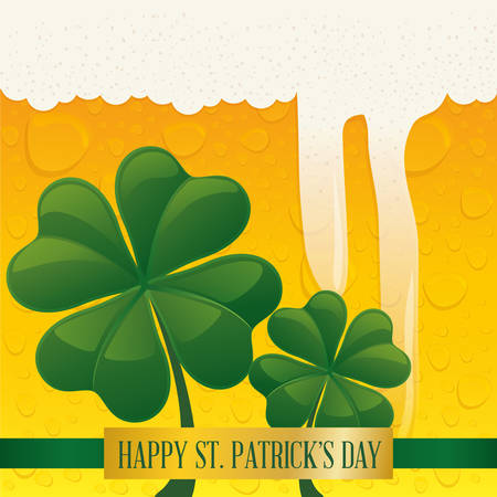 happy st patricks day clover with bubbles beer background vector illustration