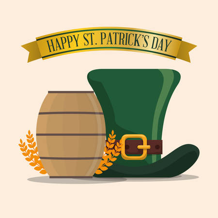 happy st patricks day hat wooden barrel and wheat Illustration