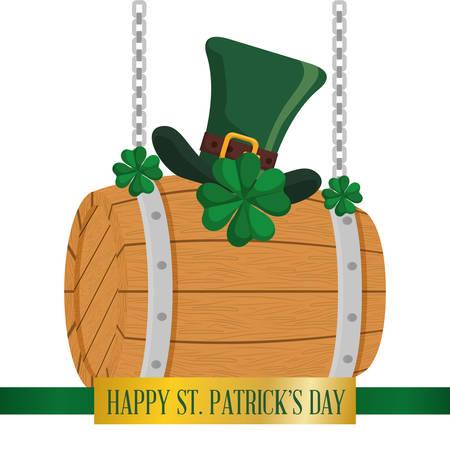 happy st patricks day wooden barrel hat and clover hanging vector illustration