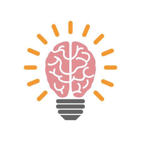Bulb idea and human brain icon vector illustration graphic design Illustration