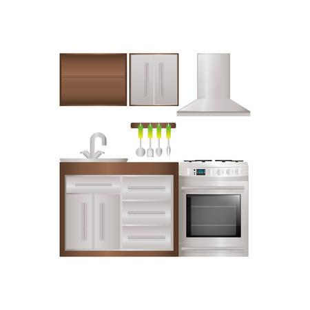 stove top: Kitchen interior design icon vector illustration graphic design