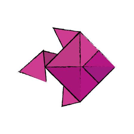 folded paper: origami paper art icon vector illustration graphic design Illustration