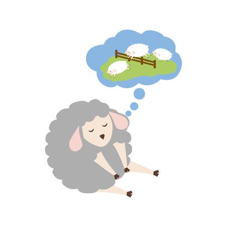 Sheep sleeping cartoon icon vector illustration graphic design Illustration