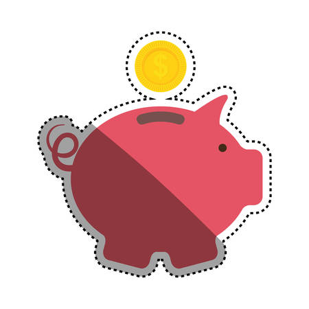 Piggy money saving icon vector illustration graphic design