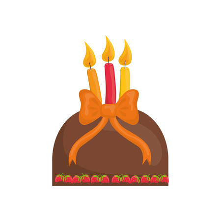 Delicious birthday cake icon vector illustration graphic design Illustration