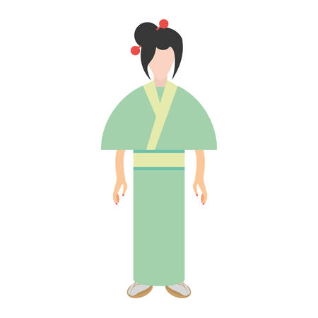 character japanese woman attire costume vector illustration eps 10
