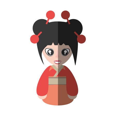 portrait woman asian clothes shadow vector illustration eps 10