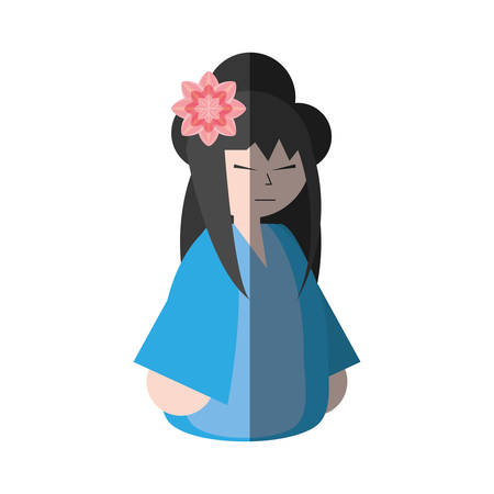asian woman wearing dress and sakura flower shadow vector illustration eps 10 Illustration