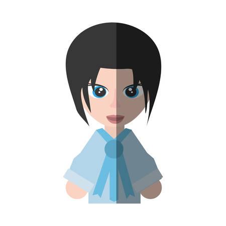 anime young: japanese girl student uniform shadow vector illustration eps 10 Illustration