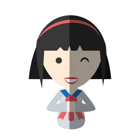 japanese girl student uniform shadow vector illustration eps 10 Illustration