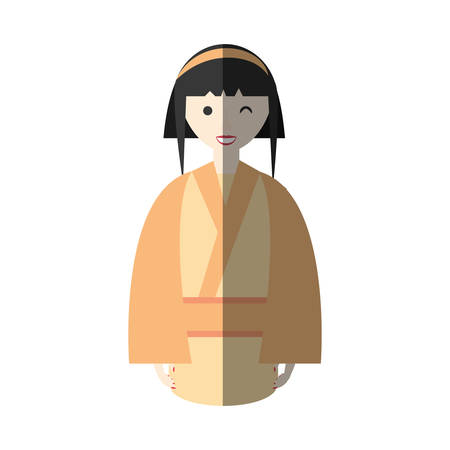 woman shadow: character japanese woman attire costume shadow vector illustration eps 10