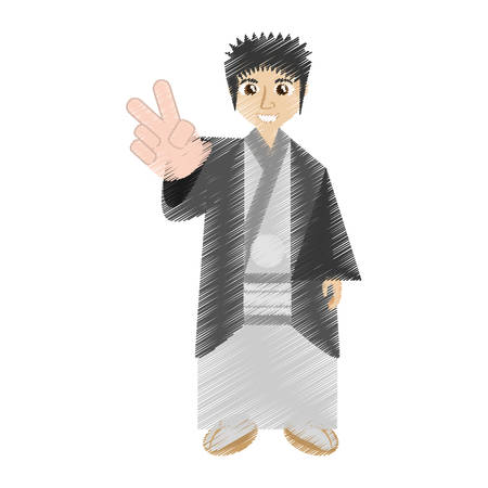 drawing japanese man wearing traditional dress vector illustration eps 10