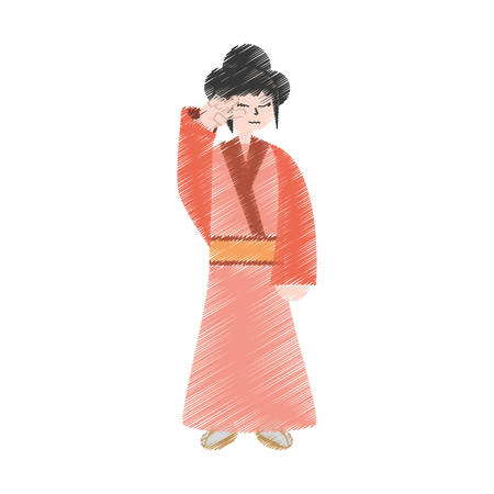 drawing character japanese woman attire costume vector illustration