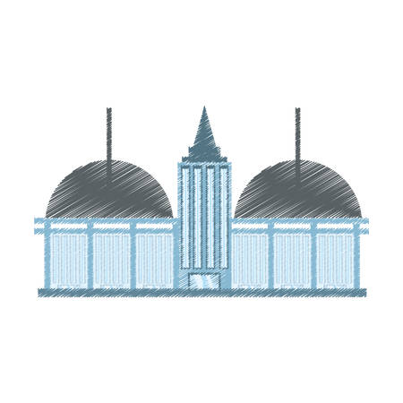 drawing building shopping mall vector illustration eps 10