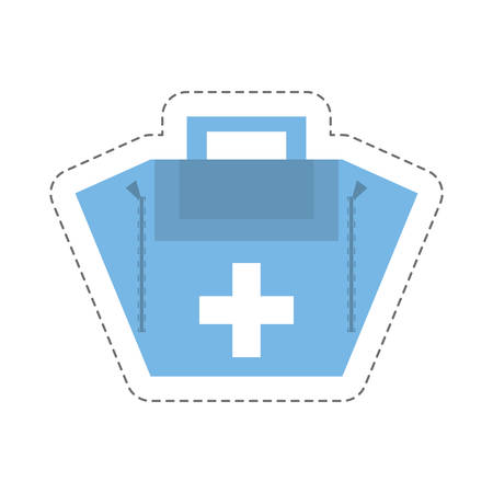 cartoon first aid kit case vector illustration isolated on white background.