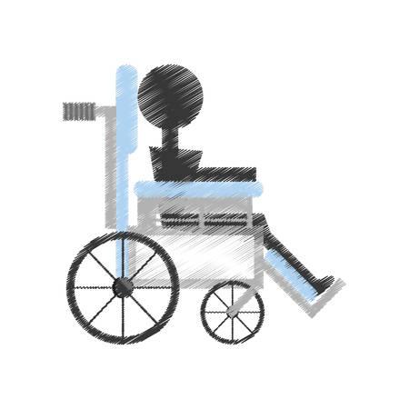esp: drawing patient wheelchair medical equipment vector illustration esp 10 Illustration