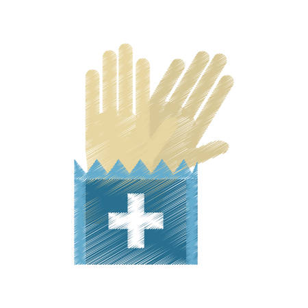 doctor gloves: drawing gloves surgery supplies medical vector illustration eps 10