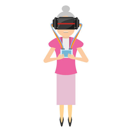 woman wear virtual reality glasses and control vector illustration