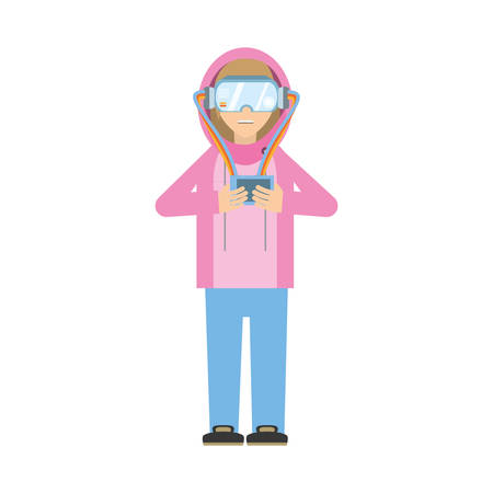 man wearing vr goggles with control vector illustration eps 10